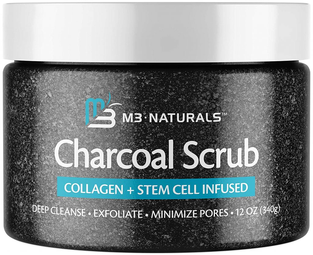 M3 Naturals Charcoal Body Scrub Infused Collagen Stem Cell